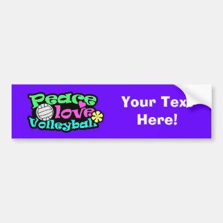 Peace, Love, Volleyball; Retro Bumper Sticker