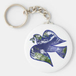 Peace on Earth Dove Basic Round Button Key Ring