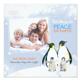 Peace on Earth Penguin Family Holiday Photo Card 13 Cm X 13 Cm Square Invitation Card