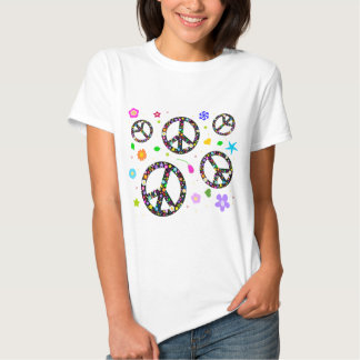 Peace Signs & Flowers T Shirt