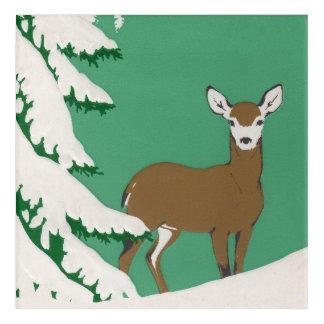 Peaceful Lone Brown Deer Standing in Snow by Tree Acrylic Wall Art