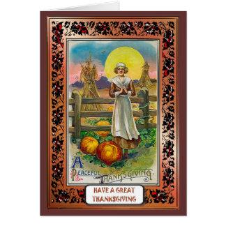 Peaceful Thanksgiving - Settler and Pumpkins Greeting Card