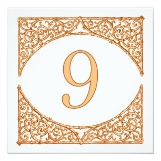 Peach and Brown Rustic Wood Screen Table Number 9 13 Cm X 13 Cm Square Invitation Card
