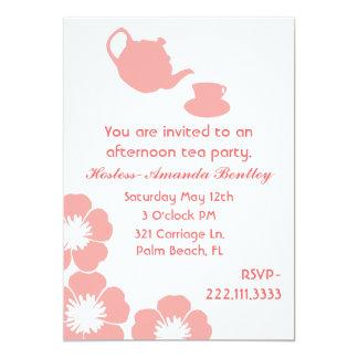 Peach and White Tea Party Invitation
