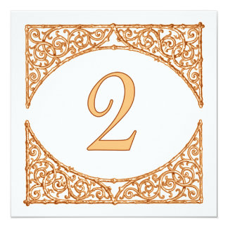 Peach & Brown Country Wood Screen Table Number 2 13 Cm X 13 Cm Square Invitation Card