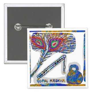 Peacock Feather : Gopal Krishna 15 Cm Square Badge