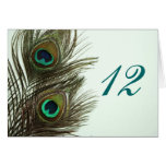 Peacock Feather Table Numbers Note Card