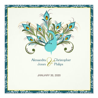 Peacock Feathers Damask Wedding 13 Cm X 13 Cm Square Invitation Card