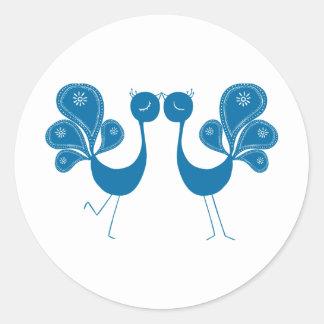Peacock Love Aqua Round Sticker