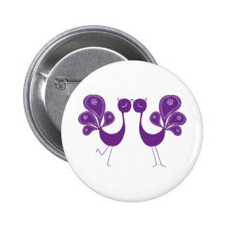 Peacock Love Lavender 6 Cm Round Badge