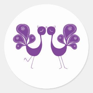 Peacock Love Lavender Round Sticker