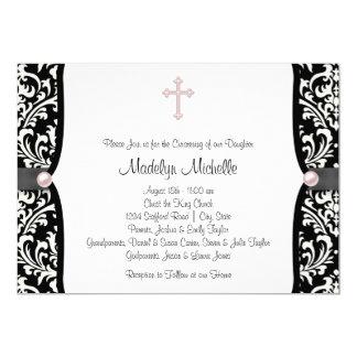 Pearl Cross Pink Black Damask Christening 13 Cm X 18 Cm Invitation Card