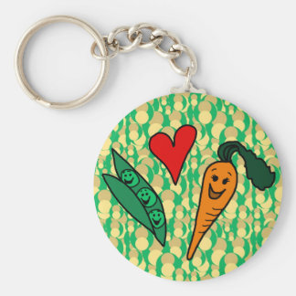 Peas Love Carrots, Cute Green and Orange Design Basic Round Button Key Ring