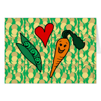 Peas Love Carrots, Cute Green and Orange Design Greeting Card