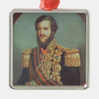 Pedro II  Emperor of Brazil Silver-Colored Square Decoration