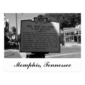 Pee Wee Saloon Historical Marker Memphis Tennessee Postcard