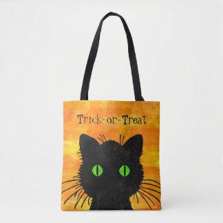Peek-A-Boo Black Cat Orange Trick-or-Treat Bag Tote Bag