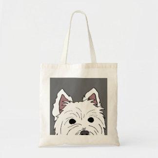 Peeking Westie Face Tote Bag