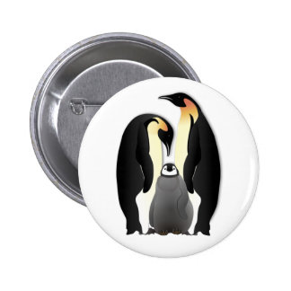 penguin family 6 cm round badge