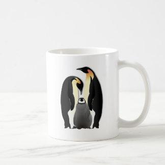 penguin family basic white mug