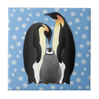 penguin family small square tile
