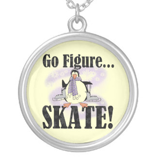 Penguin Go Figure Skate T-shirts and Gifts Round Pendant Necklace