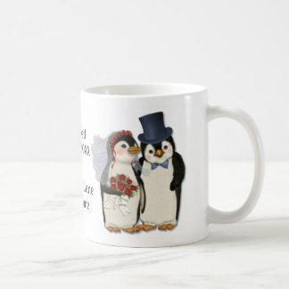 Penguin Wedding Bride and Groom Tie - Customize Basic White Mug