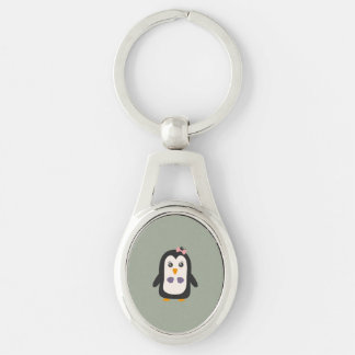 Penguin with bikini Silver-Colored oval key ring