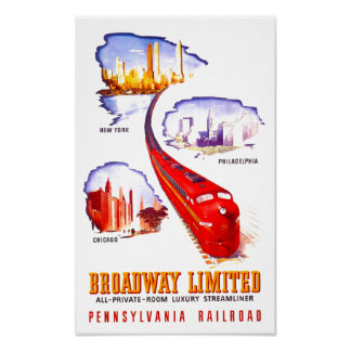 Pennsylvania Railroad Broadway Limited Streamliner Poster