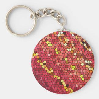 Pentagon Mosaic Basic Round Button Key Ring