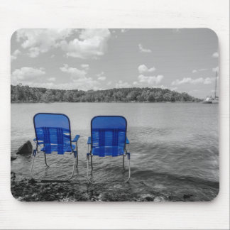 Perfect Day At The Lake Grayscale Mouse Pad