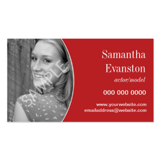Performers Headshot Curved Red Pack Of Standard Business Cards