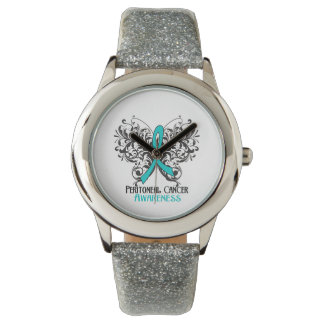 Peritoneal Cancer Awareness Butterfly Wristwatch
