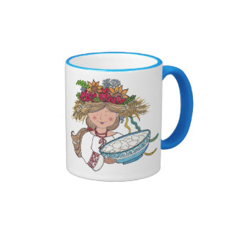 Perogie Pyrohy Pierogi Girl Ringer Mug