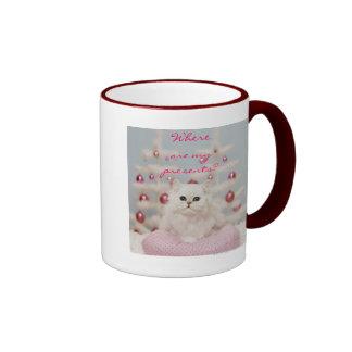Persian cat sitting on pink pillow ringer mug