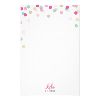 PERSONAL NOTE cute bright confetti pink mint gold Personalized Stationery
