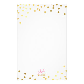 PERSONAL NOTE cute glamorous gold foil confetti Personalised Stationery