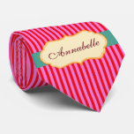 Personalised Annabelle Teal Candy Stripes Pattern Tie