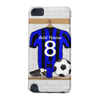 Personalised Black and blue football soccer Jersey iPod Touch (5th Generation) Cases