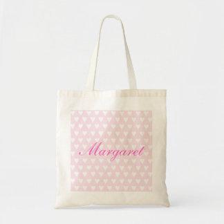Personalised initial M girls name hearts tote bag