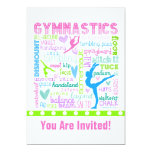 Personalised Pastel Gymnastics Words Typography 13 Cm X 18 Cm Invitation Card