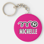 Personalised pink soccer ball keychain for girls