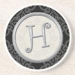 Personalised Sandstone Coasters:Silver Monogram H Drink Coasters