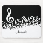Personalised White Jumbled Musical Notes on Black Mouse Pad
