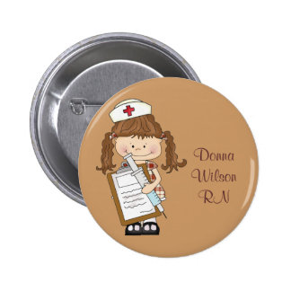 Personalize Brunette Nurse Gifts! 6 Cm Round Badge