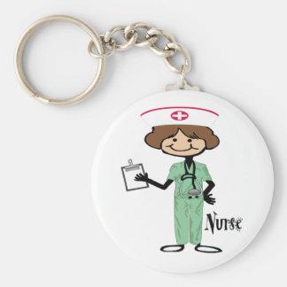 Personalize Female Nurse Basic Round Button Key Ring