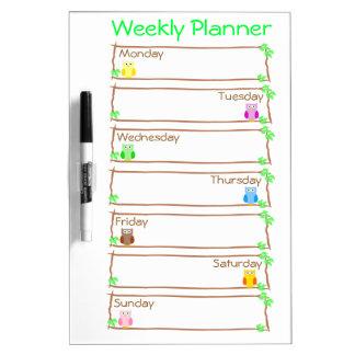 Personalize Owl Week Weekly Planner Dry-Erase Whiteboard