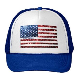 Personalize USA flag red blue sparkles AMERICA Cap