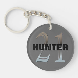 Personalized 21st Birthday Silver Number 21 Double-Sided Round Acrylic Key Ring