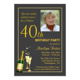 Personalized 40th Birthday Party Photo Invitations